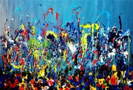 DANCE OF LIFE by SANOOP KOSHY ZACHARIAH, Abstract Painting, Acrylic on Canvas, Tan color