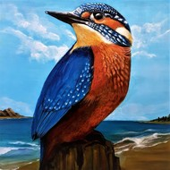 BIRD ON THE BEACH by SANOOP KOSHY ZACHARIAH, Expressionism Painting, Acrylic on Canvas, Charade color