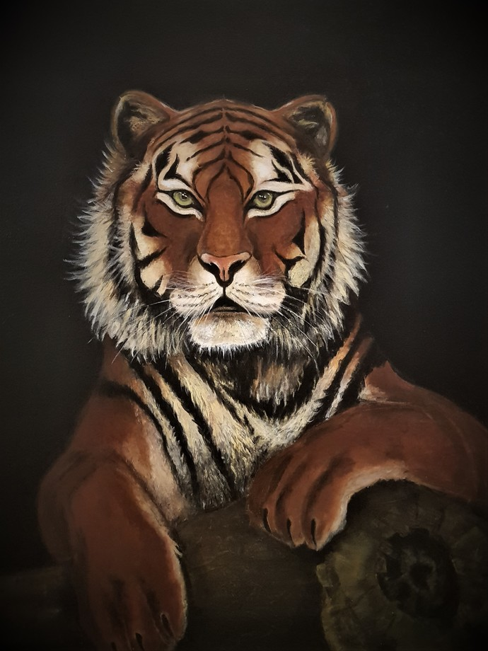 EYE OF THE TIGER by SANOOP KOSHY ZACHARIAH, Expressionism Painting, Acrylic on Canvas, Zeus color