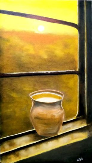Kulhad chai by Murad, Expressionism Painting, Oil on Canvas, Rangoon Green color
