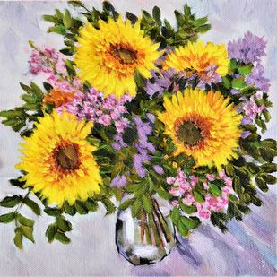 Sunflowers by Ankita Chauhan, Expressionism Painting, Acrylic on Canvas, Lisbon Brown color