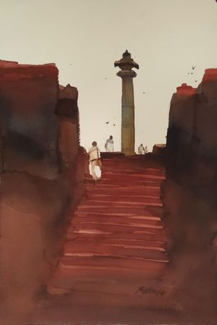 Steps to attainment by Prashant Prabhu, Impressionism Painting, Watercolor on Paper, Soft Amber color