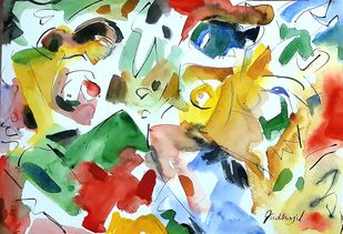 two friends by Judhajit Sengupta, Abstract Painting, Watercolor & Ink on Paper, Paris White color