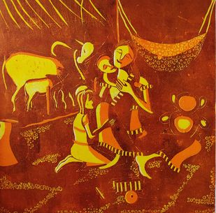 Mother & child by Sarika Kshirsagar, Expressionism Printmaking, Print on Paper, Smokey Topaz color