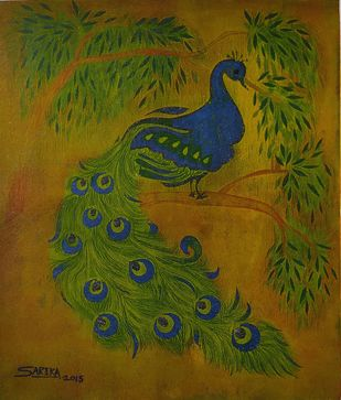 Peacock by Sarika Kshirsagar, Decorative Printmaking, Print on Paper, Horses Neck color