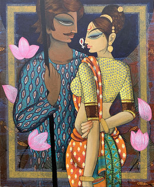 couple by Varsha Kharatmal, Expressionism Painting, Acrylic on Canvas, Tundora color