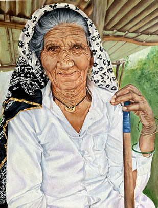 Haryanvi Old Lady by Anita Choubey, Impressionism Painting, Oil on Canvas, Swirl color