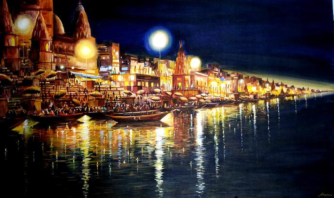 Evening Ghats At Varanasi By Samiran Sarkar