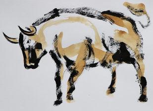 bull 12 Digital Print by Santhosh CH,Impressionism