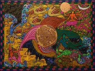 Bhagwath Gita by Seema Kohli, Expressionism Painting, Acrylic on Canvas,