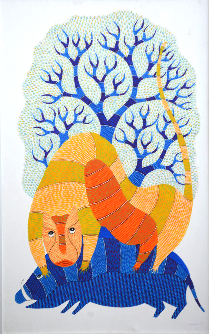 Untitled by Dhawat Singh Uikey, Folk Painting, Acrylic on Canvas,