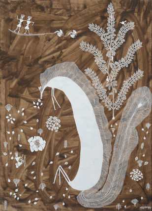 Untitled by Balu Jivya Mashe, Folk Painting, Acrylic on Canvas, Tobacco Brown color