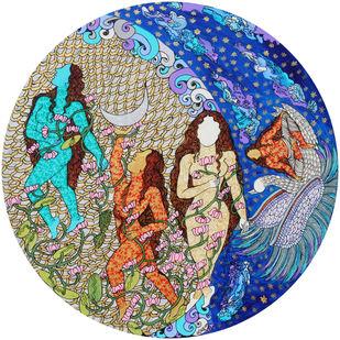 Bhagwathgita-Triguna by Seema Kohli, Expressionism Painting, Acrylic & Ink on Canvas, Bone color