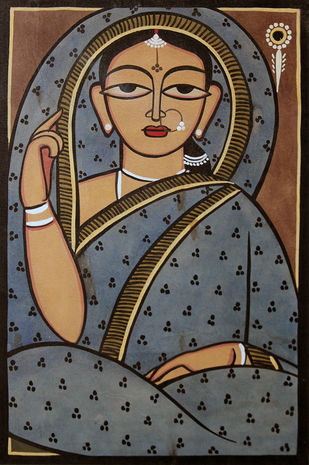 Kalighat painting in Jamini roy style by Unknown Artist, Folk Painting, Watercolor on Paper,