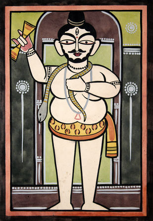 Kalighat painting in Jamini roy style by Unknown Artist, Folk Painting, Watercolor on Paper, Red color