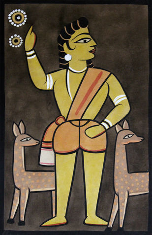 Kalighat painting in Jamini roy style by Unknown Artist, Folk Painting, Watercolor on Paper, Brown color
