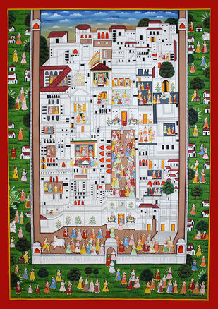 Pichwai Painting by Unknown Artist, Folk Painting, Stone Colour on Cloth,