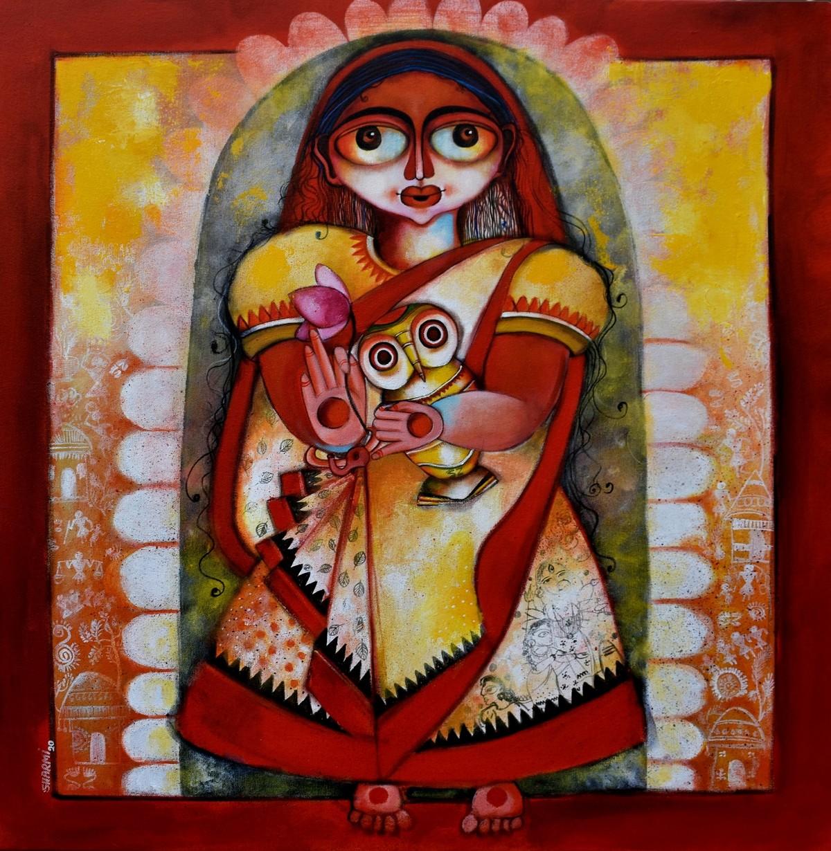 Yashaswini by Sharmi Dey, Expressionism Painting, Acrylic on Canvas, Moccaccino color