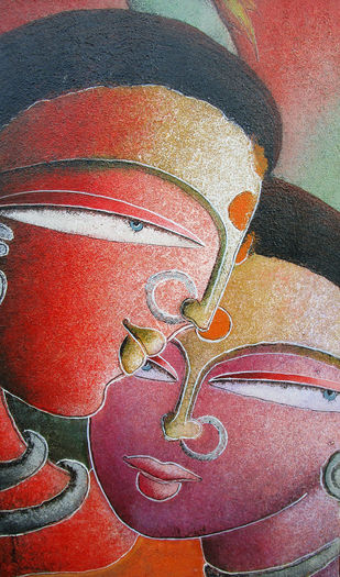 Santhali by Dhananjay Mukherjee, Expressionism Painting, Acrylic on Canvas,