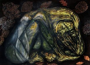 Ahalya by Caesar Das, Expressionism Painting, Mixed Media on Paper, Tuatara color