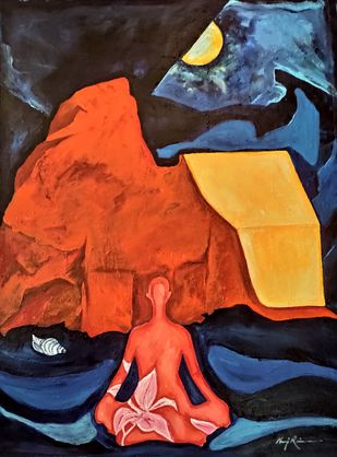 HariParbat Sharika-The Divine Within by Neeraj Raina, Expressionism Painting, Acrylic on Canvas, Charade color