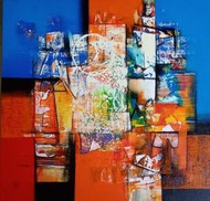 untitled by Stalin P J, Abstract Painting, Acrylic on Canvas, Tuscany color