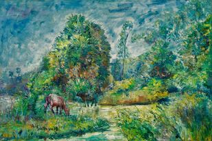 NATURE by A.Sathya, Impressionism Painting, Oil on Canvas, Wintergreen Dream color
