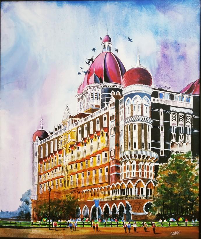 Taj Mumbai by Santosh Gorai, Impressionism Painting, Acrylic on Canvas, Rangitoto color