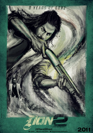 DON 2 Recreated Poster by Rajesh Ghadigaonkar, Expressionism Digital Art, Digital Print on Paper, Mineral Green color