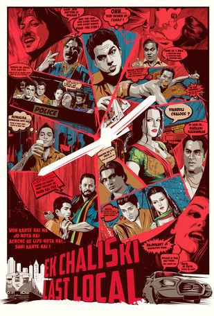 EK CHALIS KI LAST LOCAL recreated Poster by Rajesh Ghadigaonkar, Expressionism Digital Art, Digital Print on Paper, Mojo color
