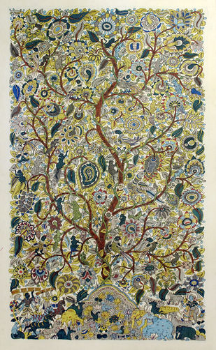 Kalamkari Painting by Unknown Artist, Folk Painting, Vegetable Dye on Cotton,
