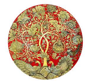 Kalamkari Painting by Unknown Artist, Folk Painting, Vegetable Dye on Cotton, Teak color
