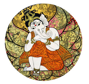 Kalamkari Painting by Unknown Artist, Folk Painting, Vegetable Dye on Cotton, Eternity color
