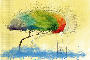 SUSPENDED IN TIME - I by Gopal Mehan, Impressionism Painting, Watercolor & Ink on Paper, Cutty Sark color