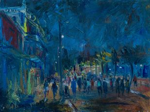 MIDNIGHT by A.Sathya, Impressionism Painting, Oil on Canvas, Elephant color