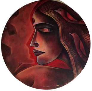 untitled by Sekhar Roy, Expressionism Painting, Acrylic on Canvas, Cocoa Bean color