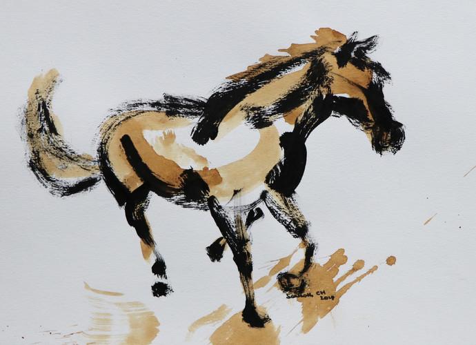 horse 33 Digital Print by Santhosh CH,Illustration