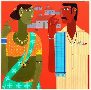 telangana Couple -2 by Kandi Narsimlu, Expressionism Painting, Acrylic on Canvas, Punch color