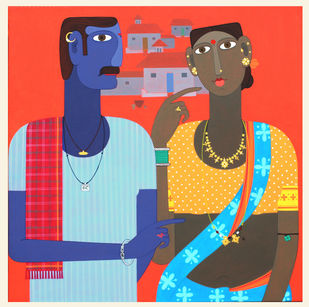 telangana Couple -1 by Kandi Narsimlu, Expressionism Painting, Acrylic on Canvas, Ziggurat color