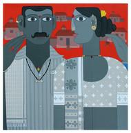 telangana Couple -3 by Kandi Narsimlu, Expressionism Painting, Acrylic on Canvas, Regent Gray color