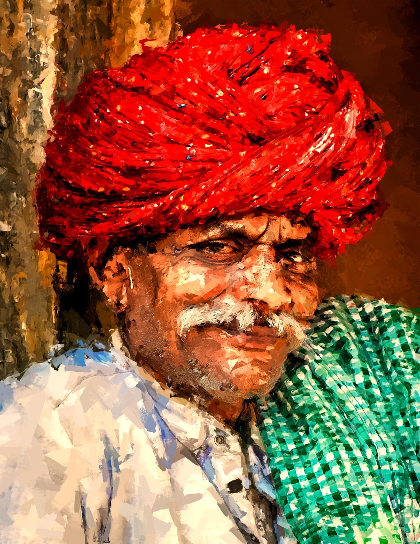 mr. rajasthan by Shashank Sharma, Expressionism Digital Art, Digital Print on Canvas,