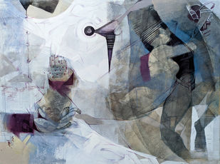 Energy_ll by Anas Sultan, Abstract Painting, Acrylic on Canvas, Regent Gray color
