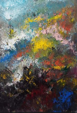 By the sea by Ashwin Sahay, Abstract Painting, Acrylic on Canvas, Masala color