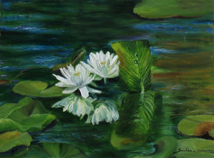 Lily pond by Sulakshana Dharmadhikari, Expressionism Painting, Oil on Canvas, Green Kelp color
