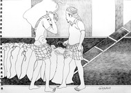 (Agri) Culture by Satish Multhalli, Illustration Drawing, Acrylic & Ink on Paper, Mercury color