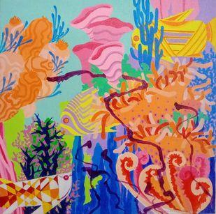AQUA PSYCHEDELIC 1 by Saumya Bandyopadhyay, Abstract Painting, Acrylic on Canvas, Quicksand color