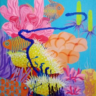 AQUA PSYCHEDELIC 2 by Saumya Bandyopadhyay, Expressionism Painting, Acrylic on Canvas, Astral color