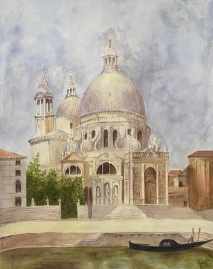 Santissimo Redentore by Mannat Dhillon, Impressionism Painting, Pen, pencil, watercolour on paper, Cotton Seed color