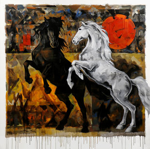 HORSE SERIES 165 by Devidas Dharmadhikari, Expressionism Painting, Acrylic on Canvas,
