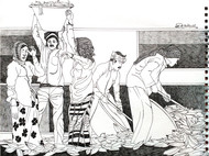 (Agri) Culture by Satish Multhalli, Illustration Drawing, Acrylic & Ink on Paper, Quill Gray color